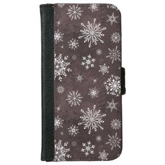 白い雪片 iPhone 6/6S ウォレットケース