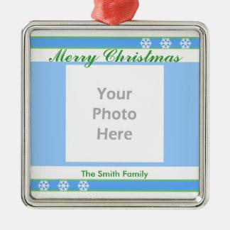 、白い青い、メリークリスマス緑(写真フレーム) メタルオーナメント