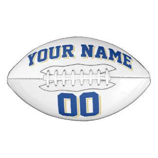 白い青く、古い金ゴールドの習慣のフットボール アメリカンフットボール