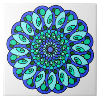 白い青緑の星の幾何学的なタイル タイル
