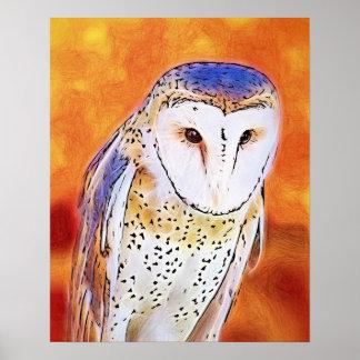 白い顔を搭載する美しいメンフクロウの鳥 ポスター