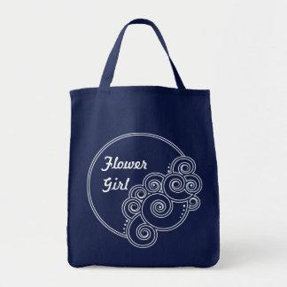 白い魅了の渦巻のフラワー・ガールのバッグ トートバッグ