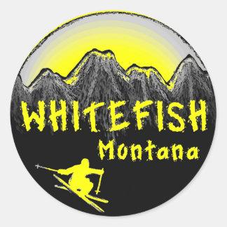白い魚のモンタナの芸術的なスキーヤー ラウンドシール