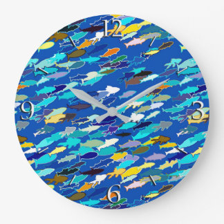 白い魚、濃紺ターコイズの学校 ラージ壁時計