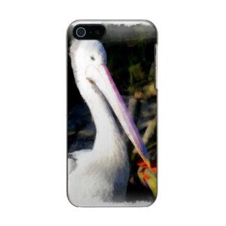 白い鳥および大きいくちばし メタリックiPhone SE/5/5sケース