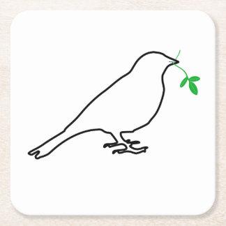 白い鳥および小枝のコースター スクエアペーパーコースター