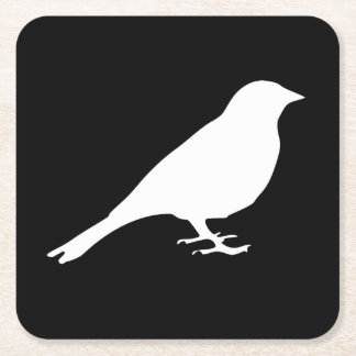 白い鳥のコースター スクエアペーパーコースター