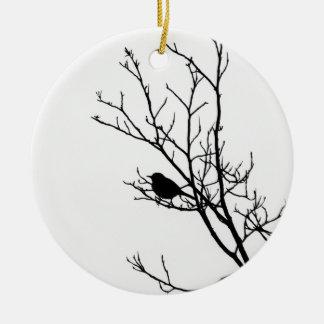 白い鳥のシルエットの黒- セラミックオーナメント