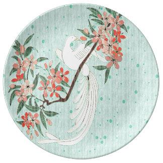 白い鳥-桜 磁器プレート