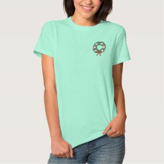 白い鳩のリース 刺繍入りTシャツ