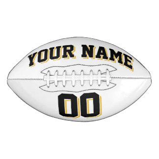 白い黒および金ゴールドの習慣のフットボール アメリカンフットボール