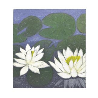 白い《植物》スイレンの花、アクリルの絵画 ノートパッド