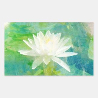 白い《植物》スイレンの花 長方形シール