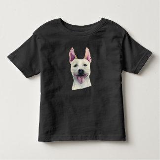 白い(犬)スタッフォードのブルテリア犬の水彩画 トドラーTシャツ