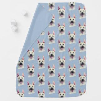 白い(犬)スタッフォードのブルテリア犬の水彩画 ベビー ブランケット