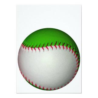 白い|緑|野球 14 X 19.1 インビテーションカード