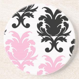 白い|黒|ピンク|美しい|はっきりした|ダマスク織 飲み物用コースター