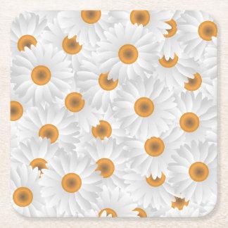 白いChamomileの花模様 スクエアペーパーコースター