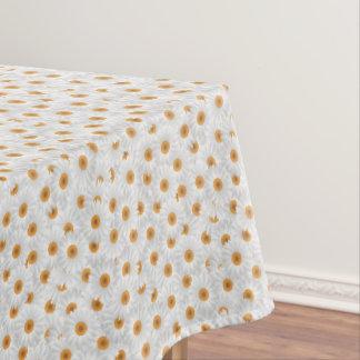 白いChamomileの花模様 テーブルクロス