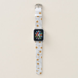 白いChamomileの花 Apple Watchバンド