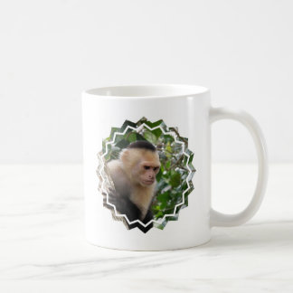 白いCheekedのCapuchin猿のコーヒー・マグ コーヒーマグカップ