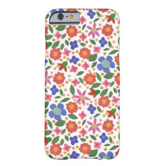 白いiPhone6ケースの民芸のスタイルの花模様 Barely There iPhone 6 ケース
