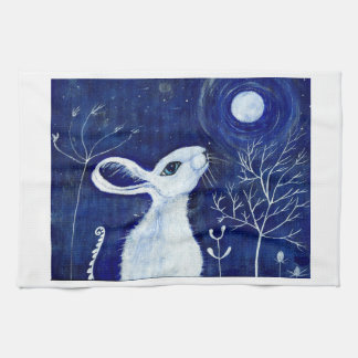 白いmoongazingノウサギ キッチンタオル