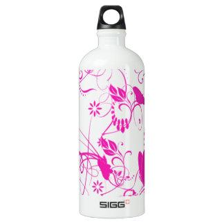 白いnのピンクの蝶 ウォーターボトル