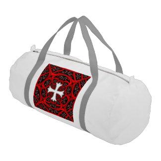 白いpatonceの十字 ジムバッグ