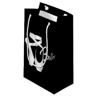 白いPointeバレエのバレリーナはSmlのギフトバッグに蹄鉄を打ちます スモールペーパーバッグ