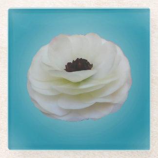 白いRanunculusの花ガラスのコースター ガラスコースター