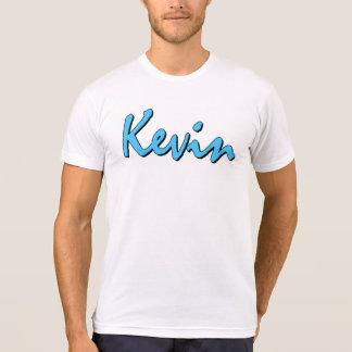 白いTシャツのケビンの青いロゴ Tシャツ