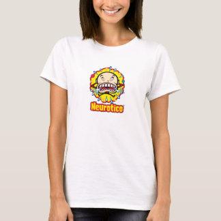 白いTシャツのNeuroticoの泣き虫の漫画のロゴ Tシャツ