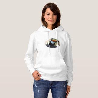 白いToucanの女性の基本的なフード付きのスエットシャツ パーカ