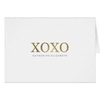 白いXOXOによって折られるサンキューカードの模造のな金ゴールドホイル カード