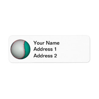 白およびティール(緑がかった色)の野球/ソフトボール ラベル