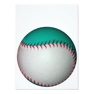 白およびティール(緑がかった色)の野球/ソフトボール 14 X 19.1 インビテーションカード