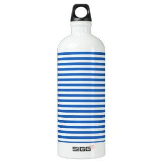 -白およびデニム色縞で飾ります ウォーターボトル