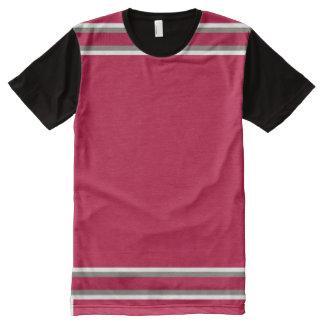 白およびピューターのトリムとの深紅色 オールオーバープリントT シャツ
