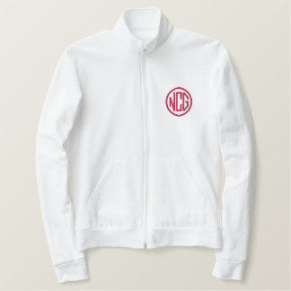 白およびピンクによって刺繍されるモノグラムのジャケット 刺繍入りジャケット