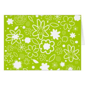 白およびライムグリーンの花柄パターン カード