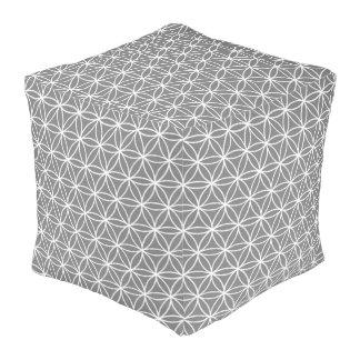 """白および灰色によって立方体にされるPouf (18"""" x18 """" x18"""") プーフ"""