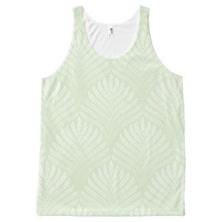 白および緑のクラシックな群葉パターン オールオーバープリントタンクトップ