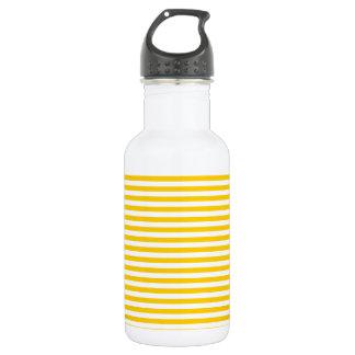 -白および蜜柑の黄色縞で飾ります ウォーターボトル