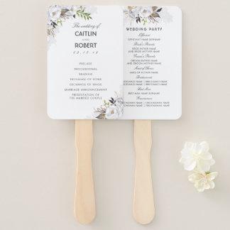 白および金ゴールドのエレガントな花の結婚式プログラム ハンドファン