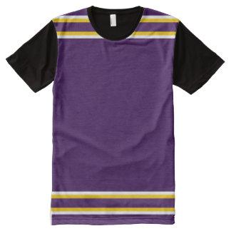 白および金ゴールドのトリムとの紫色 オールオーバープリントT シャツ