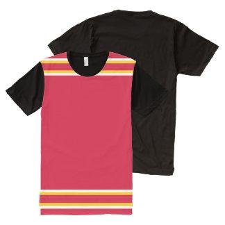白および金ゴールドのトリムとの赤 オールオーバープリントT シャツ