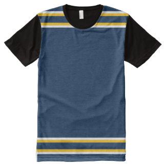 白および金ゴールドのトリムと濃紺 オールオーバープリントT シャツ