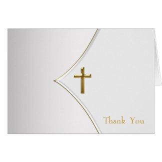 白および金ゴールドの十字の《キリスト教》洗礼式や命名式のサンキューカード カード