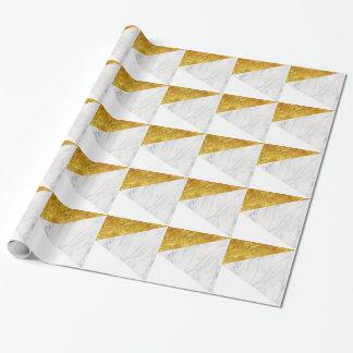 白および金ゴールドの大理石 ラッピングペーパー